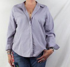 J Jill Blouse Large size Purple Blue Cotton Career Casual Womens Shirt