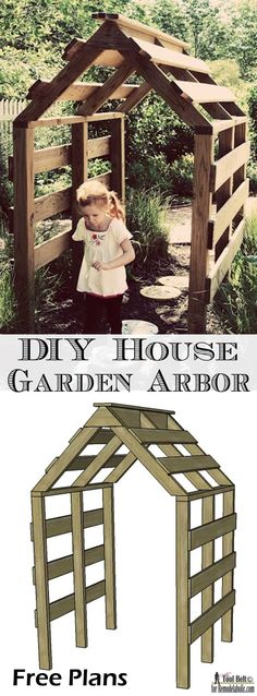 This house shaped garden arbor is so cute, perfect for my yard.  Free DIY plans…