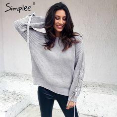 93a65464d Encontre mais Pullovers Informações sobre Simplee Casual o pescoço de malha  camisola das mulheres jumper Lace