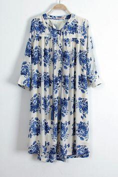 Blue Half Sleeve Loose Dress