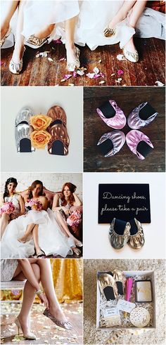 "Love this wedding favor idea! Shoes that your guests can wear at your wedding to dance all night long! Use promo code ""MOD15"" to get 15% off at @rescueflats"