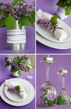 partyeko in lila, konserendose, serviettenring mit blumen, weingläser, teelichthalter