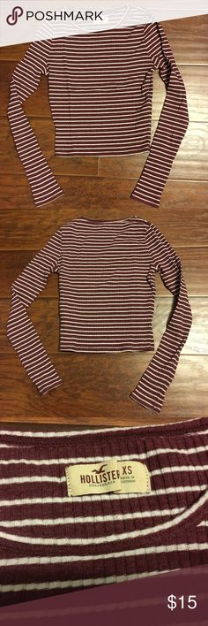 Hollister Burgundy & White Striped Ribbed Crop Top Cute stretchy crop top. Perfect condition Hollister Tops Crop Tops
