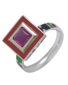 Memphis square stone ring in pink tourmaline & Fairtrade silver with 14ct gold setting