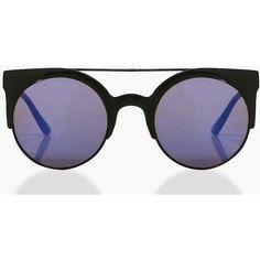 Boohoo Lucia Retro Brow Bar Black Frame Sunglasses | Boohoo ($7) ❤ liked on Polyvore featuring accessories, eyewear, sunglasses, uv protection glasses, oversized retro sunglasses, uv protection sunglasses, retro glasses and retro style glasses