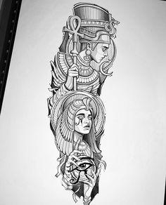 Half Sleeve Tattoos Sketches, Half Sleeve Tattoos Designs, Tattoo Designs Men, Tattoo Drawings, Red Ink Tattoos, Full Arm Tattoos, Body Art Tattoos, King Tut Tattoo, King Tattoos