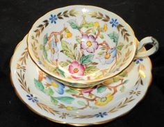 ROYAL CHELSEA YELLOW PINK BLUE PURPLE WIDE WIDE TEA CUP AND SAUCER