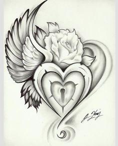 wing heart lock rose tattoo even tho I already have so many bird related tattoos Tattoo Sketch, Et Tattoo, Piercing Tattoo, Tattoo Drawings, Piercings, 3 Roses Tattoo, Tattoo Key, Ankle Tattoo, Girly Tattoos