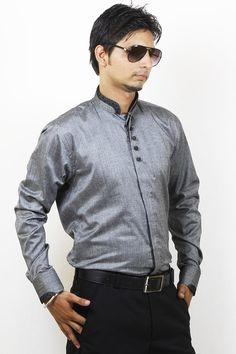 Buy Grey Party Wear Linen Shirt For Men Online in India