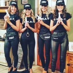 swat team costume for women diy Cute Group Halloween Costumes, Twin Halloween, Halloween Ideas, Twin Costumes, Group Costumes, Swat Team Costume, Carnaval Costume, Halloween Disfraces, Sexy Teens