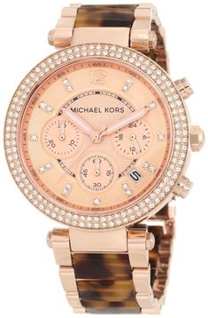 Women's watches Crystal watches for women Michael Kors Women's MK5538 Parker Tortoise & Rose Gold-Tone Watch
