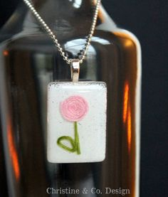 Sweet for Valentine's Day..Pink Flower in Resin Glass Pendant by ChristineandCodesign on Etsy, $28.00