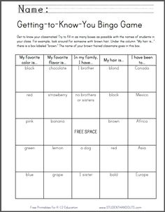 """Aimed at kids in grades 1-6. This is a great game for getting kids acquainted at the beginning of the school year. Option 1: Have kids complete the board, and the student with the most completed squares wins. Option 2: Have students fill every square, then play a game of bingo, using kids' names (instead of """"B12,"""" etc.)."""