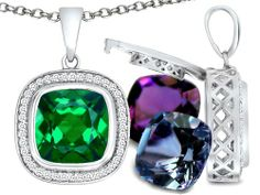 Amazon.com: Switch-It Gems (tm) Interchangeable Simulated Emerald Pendant Set with 12 Cushion Cut 10mm Birthstones Included in 925 Sterling ...