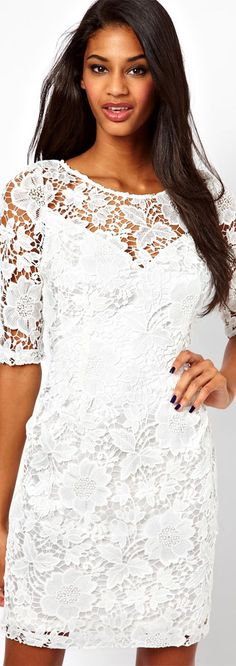 Lipsy Lace Dress with Sleeve Pure White, Beautiful Models, Latest Fashion Clothes, Online Shopping Clothes, Party Dresses, Cinderella, Evening Dresses, Dress Up, Costume