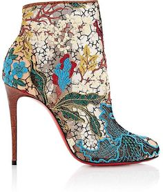Christian Louboutin Women's Miss Tennis Ankle Boots #christianlouboutin Embroidered Floral