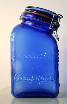 1960s Cobalt Italian Glass Canister