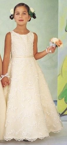 A-line ivory lace flower girl dress