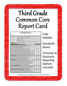 Time to update your progress report/report card?  Third Grade Common Core Report Card, Fully Editable. ($)