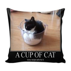 Cup of Cat funny Meme Pillow Cover