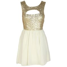 Gold Sequin Embellished Cream Chiffon Dress ($40) ❤ liked on Polyvore
