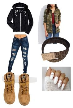 """""""Untitled #332"""" by slayxalanda ❤ liked on Polyvore featuring Charlotte Russe, Aéropostale, Fendi and NIKE"""