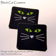 Handmade Black Cat Coaster glass coaster glass by ConnemaraBlue, Fused Glass Plates, Fused Glass Art, Glass Dishes, Mosaic Glass, Fused Glass Jewelry, Cat Coasters, Glass Coasters, Glass Fusion Ideas, Halloween Plates