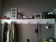 Our coat hanger shelf in our entrance!