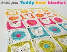 Teddy Bear Crochet Baby Blanket pdf pattern & by DadasPlace