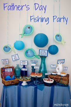 Father's Day fishing theme party, or you could do it for a kids party too. Love the photobooth idea! Funny Fathers Day Gifts, Fathers Day Crafts, Happy Fathers Day, Dad Gifts, Tool Party, Happy Home Fairy, O Fish Ally, Birthday Table Decorations, Fish Decorations