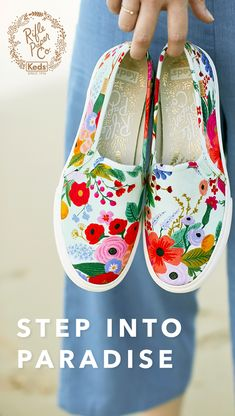 Keds teamed up with Anna Bond, co-founder and creative director of Rifle Paper Co., to create a whimsical collection just right for sunny season. Inspired by Anna's trips to the Caribbean with its lush landscapes and playful folk art, the collaboration fe Tenis Vans, Shoe Art, Painted Shoes, Mode Style, Custom Shoes, Me Too Shoes, Hiking Boots, Fashion Shoes, Shoe Boots