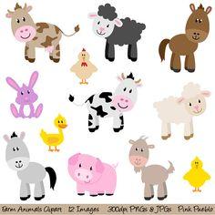 Farm Animals Clipart Clip Art, New Barnyard Animals Clipart Clip Art - Commercial and Personal Use. $6.00, via Etsy.