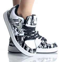 Black-White-Patent-Zebra Casual Skater Skull Lace Up Sneakers Shoes