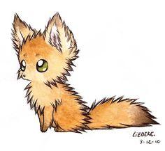 fluffy fennec fox by Liedeke on @DeviantArt