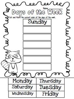 Days of the week cut & paste...math journal idea for the first week of school (because even in MAY I have kiddos who can't keep months straight from days of the week!):