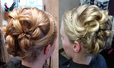 Fun updo for senior prom! LOTS of long beautiful blonde hair, curled on a large barrel iron and swept up into this girly updo. Finished with a headband that matched her dress!