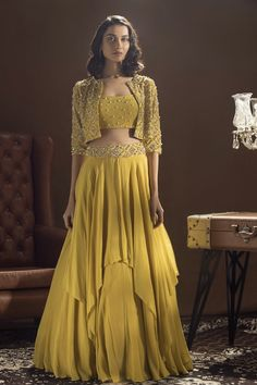 Mustard Yellow Embroidered Jacket Lehenga Set Design by Sanya Gulati at Pernia's Pop Up Shop Party Wear Indian Dresses, Designer Party Wear Dresses, Party Wear Lehenga, Indian Gowns Dresses, Indian Bridal Outfits, Indian Fashion Dresses, Dress Indian Style, Indian Designer Outfits, Indian Outfits Modern