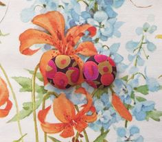 Wholesale Earrings / Fabric Covered Buttons / Handmade Jewellry / Liberty of London / Hypoallergenic Posts / Gift Ideas / Stud Earrings by ManhattanHippy on Etsy