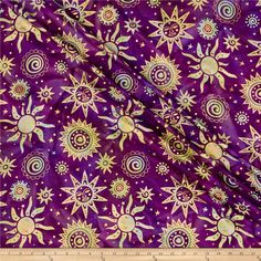Indian Batik Odyssey Gold Sun Purple from @fabricdotcom  From Textile Creations, this Indian batik is perfect for quilting, apparel and home decor accents. Colors include purple, light blue and mint with gold metallic accents.