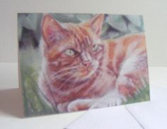 Small cat notecards ginger cat design by pastelesta on Etsy £6