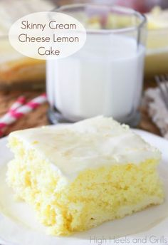 Skinny Cream Cheese Lemon Cake - An easy and light recipe for a lemon cream cheese cake using a lemon flavored cake mix, yogurt and reduced fat cream cheese.