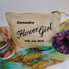 Custom Makeup Bag Flower Girl Gift. Wedding Gift. Accessory Bag. Make Up Pouch. Cosmetic Bag. Wedding Favour. Personalised Gift Bag. by SoPinkUK on Etsy