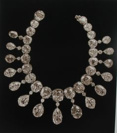 The diamond necklace that belonged to Dowager Maria Feodorovna. The total value of necklace is more then 470 karats. The diamonds were brought from India in the 17th century. Today's owner of the necklace is unknown.