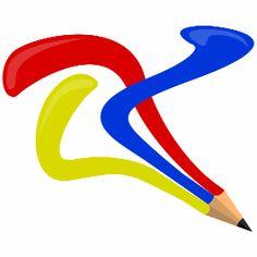 Buntstift - Ein Buntstift in Gelb, Blau und Rot. Die Farben entfernen sich nach der Stiftspitze voneinander.