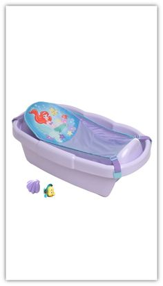 Bathe like royalty. THE LITTLE MERMAID shell style bath tub gives you a bathing solution for your little character with comfort for newborns to toddlers. The tub  comes with an Ariel themed newborn sling, a Flounder squirt toy, and a shell pour cup for added entertainment.