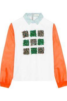 DELPOZO Embellished silk-organza and cotton-poplin shirt | NET-A-PORTER