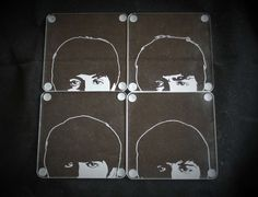 The Beatles Hand Engraved coasters featuring John, Paul, George and Ringo. Set of 4 Acrylic mats by PimpedMyStride on Etsy