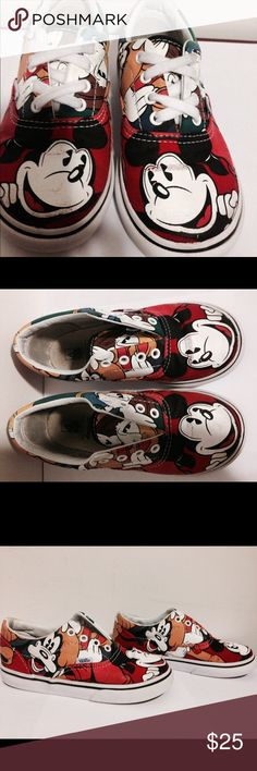 VANS ERA MICKEY MOUSE,GOOFY,DONALD DUCK AND PLUTO. They are used look at photo still has some life to it. toddler size 10. Any question ask please. Vans Shoes Sneakers
