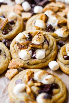 Toasted S'mores Chocolate Chip Cookies Recipe - everything you love about soft and chewy chocolate chip cookies paired with the greatness of a s'more!