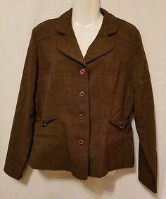 Dress Pant Career Suit Brown 2 pc Blazer Dress Jacket Sag Harbor Womens Size 10